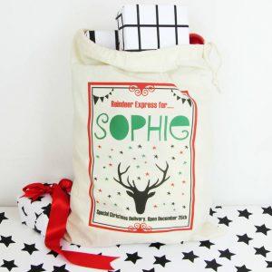 Reindeer, Personalised Christmas Sack