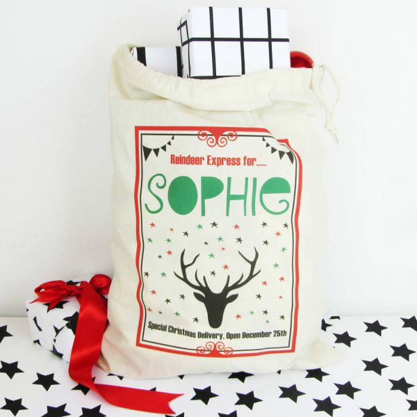 Reindeer, Personalised Christmas Sack