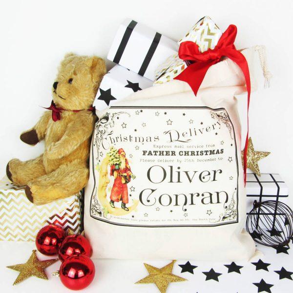 Traditional, Personalised Christmas Sack