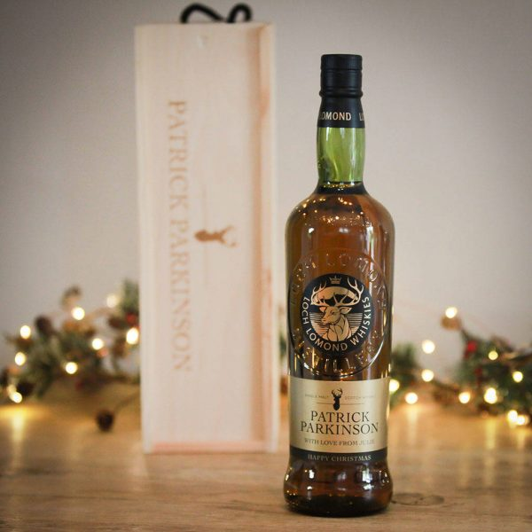 Personalised Christmas Malt Whisky And Wooden Gift Box