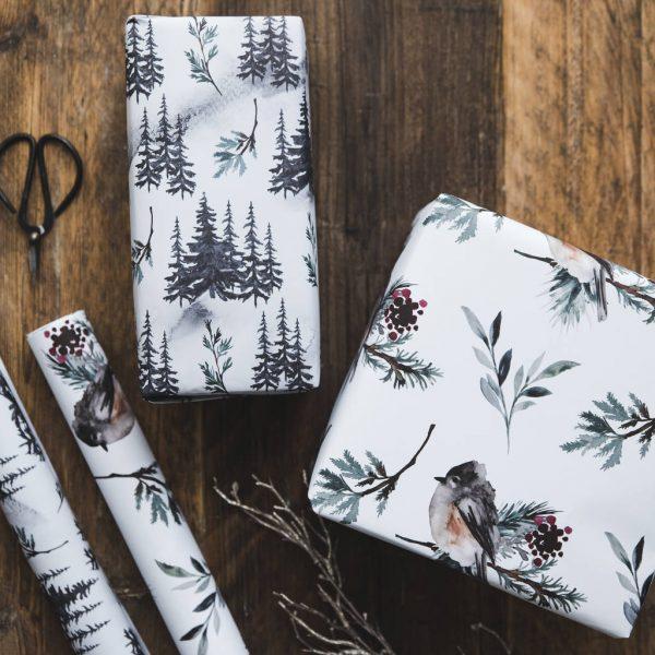 Watercolour Christmas Gift Wrap Set