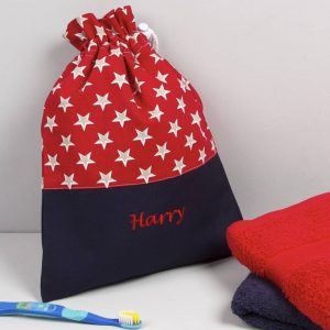 Child's Personalised Red Star Wash Bag