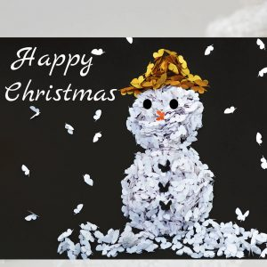 Butterfly Snowman Christmas Card, Five Cards