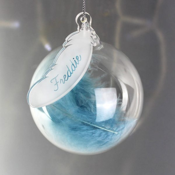 Personalised Feather Glass Christmas Bauble